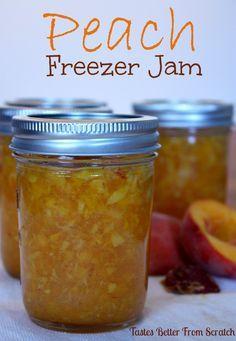 Peach Freezer Jam from TastesBetterFromScratch.com #jam #peaches Peach Freezer Jam, Strawberry Freezer Jam, Freezer Jam Recipes, Canning Recipes, Jelly Recipes, Strawberry Summer, Freezer Food, Peach Jam, Peach Preserves