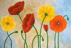 easy canvas poppy painting | Poppy Acrylic Painting