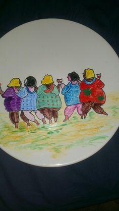Dikke dames op porselijn