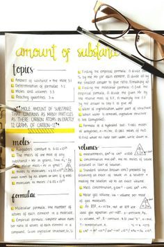 "Chemistry 518406607090976704 - hannah-cerise: "" This is my first studyblr post of my own! Making chemistry notes on the mole for next year. Can't remember where I saw the layout. Cute Notes, Pretty Notes, Beautiful Notes, E Learning, Schrift Design, The Mole, College Notes, Study Organization, School Organization Notes"
