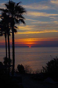 Západ Slunce, Palmy, Nálada, Moře