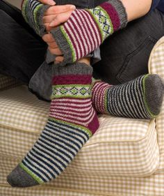 Socks and Wrist Warmers for ladies in Regia 4-ply pattern