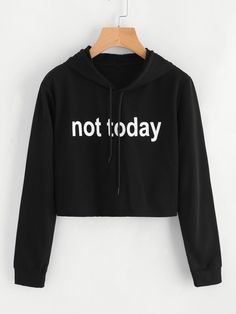 To find out about the Slogan Print Crop Hoodie at SHEIN, part of our latest Sweatshirts ready to shop online today! Girls Fashion Clothes, Teen Fashion Outfits, Mode Outfits, Outfits For Teens, Girl Outfits, Clothes For Women, Girl Clothing, Ladies Fashion, Clothing Ideas
