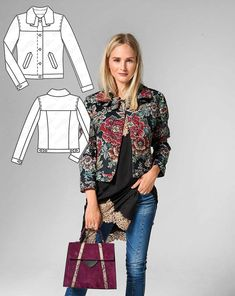 Romantic…cool: A bit of both with this style that is cut like a denim jacket, yet sewn with a fine floral tapestry fabric. The flounce collar and the mitered welt pockets are wonderfully feminine