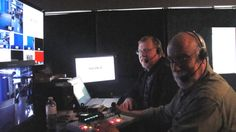 Walter and Bob smilin' pretty, backstage at Sony's company-wide Town Hall with prez Phil Molyneux. Little BRS-200 does a big job switching; then out to Don Collopy's American Satellite Uplink truck, and off into the ether.