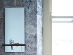 Gillmore Space Gerrit Portrait Mirror with Walnut Shelf - Brilliant hall mirror with shelf and concealed key hooks