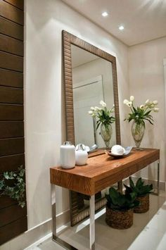 new ideas house entrance modern mirror Entryway Mirror, Entryway Decor, Mirror House, Foyer, Living Room Designs, Living Room Decor, Dining Room, Decoration Entree, House Entrance