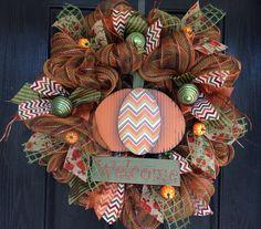Fall wreath, Autumn wreath, fall deco mesh wreath with chevron pumpkin on Etsy, $70.00
