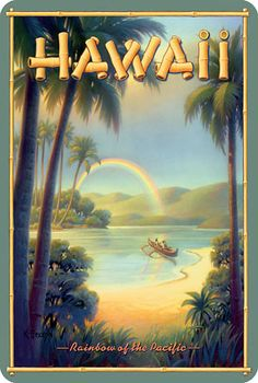 again, we love the vintage hawaiian feel, the framing of the palm trees looking out on to the beach with a rainbow and beautiful green mountains