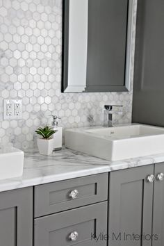 A Marble Inspired Ensuite Bathroom (Budget Friendly too!) Formica Calacatta marble laminate countertop, hexagon mosaic marble backsplash and Chelse Gray vanity in ensuite bathroom with raised sinks by Kylie M Interiors - Marble Bathroom Dreams Ensuite Bathrooms, Grey Bathrooms, Bathroom Renovations, Small Bathroom, Marble Bathrooms, Bathroom Vanities, Mosaic Bathroom, Gold Bathroom, Bathroom Shelves