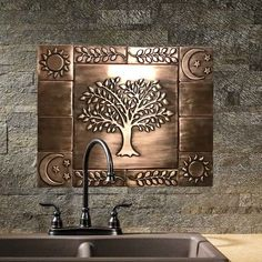 Beautiful tree of life, Set of 13 Handmade copper tiles, kitchen rustic backsplash tiles Copper Tile Backsplash, Rustic Backsplash, Kitchen Backsplash, Backsplash Ideas, Handmade Tiles, Handmade Copper, Metal Walls, Metal Wall Art, Feuille Aluminium Art