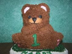 Close up of Teddy Bear - close up of 3d teddy bear for 1st birthday cake