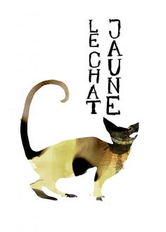 Le Chat Jaune Acrylics, Paper Cutting, Ink, Watercolor, Drawings, Illustration, Movie Posters, Animals, Yellow