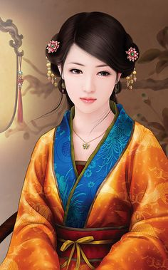 Chinese woman in traditional attire Ancient Beauty, Ancient Art, Asian Girl, Asian Woman, Art Chinois, Chinese Drawings, Geisha Art, Art Asiatique, Art Anime