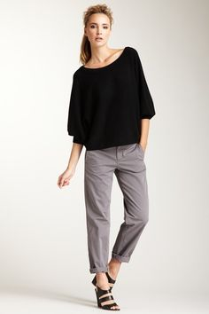 slouchy pants and heels