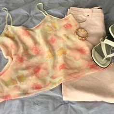 """New ItemFloral Chiffon Camisole So Pretty & Feminine! Gorgeous Florals in shades of Pink, Peach, & Yellow drift across a pale Yellow background on this lovely Camisole. It is Chiffon fabric with a solid lining & has Satin Trim all around including Straps. Measures 20"""" flat across bust;  16"""" length at center front. Cut on Bias so there is very nice drape on the body. NWOT. Looks great with Pink jeans (sold in closet) & a light sweater or simply pair with shorts for casual look. Tops Camisoles"""