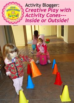 Educational Activity:  Creative Play with Activity Cones---Inside or Outside! A simple set of activity cones has endless play possibilities. Explore some here. #messforless #creativeplay #preschool