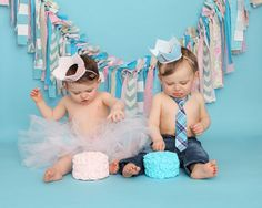 Boy and Girl Twins 1st Birthday Cake Pinteres