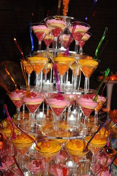 Perfect Idea to go with happy hour cupcakes...yes there are cupcakes and jelly beans in the martini glasses!!