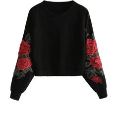 Embroidered Rose Sweatshirt Women Long Sleeve Floral Applique Sweatshirt ONeck Harajuku Pullover Top Ropa Invierno Mujer Color black Size S Hoodie Sweatshirts, Printed Sweatshirts, Hoody, Harajuku, Streetwear, Black M, Cool Hoodies, Hipster, Long Hoodie