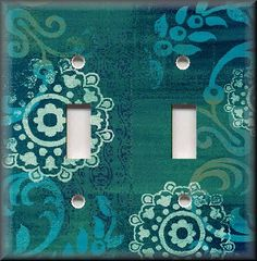 Light Switch Plate Cover - Boho Gypsy Home Decor - Turquoise Blue Floral
