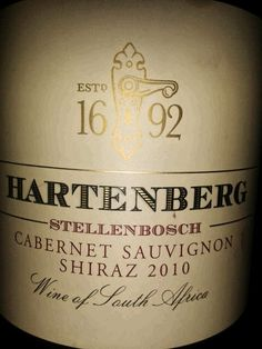 Hartenberg 1692, 2010, Vicky Christina's, Umhlanga, South Africa.  Very good △