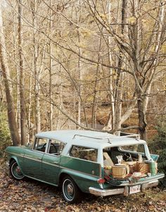 "Tailgating. ""A 1958 Rambler station wagon — parked in the dappled sunlight, among the falling leaves — helps set the mood by creating an all-American tableau."" Via Country Living Magazine"