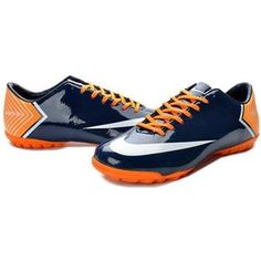 http://www.asneakers4u.com Nike Mercurial Vapor X TF Boots   Midnight Blue White Orange