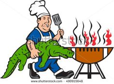 Illustration of a chef smiling carrying alligator in one hand and holding spatula in the other hand cooking with bbq grill viewed from front set on isolated white background done in cartoon style. #chef #cartoon #illustration