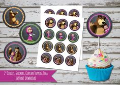 Venta Masha y el oso Cupcake Toppers Masha y el por DebsPrintables