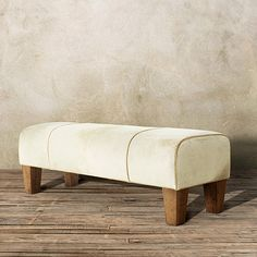 """Cowboy 56"""" Leather Bench in Creme Caramel Hide"""