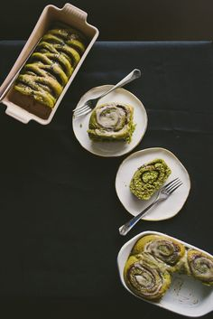 Buttermilk Matcha Rolls with Black Sesame Cinnamon Filling 20 Exciting Green Tea Recipes To Try Green Tea Dessert, Matcha Dessert, Green Tea Recipes, Sweet Recipes, Brunch Recipes, Green Tea Powder, Black Sesame, Matcha Green Tea, Croissants