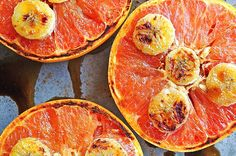 Broiled Grapefruit- the healthy way. Usually I see broiled grapefruit recipes with butter and sugar but this one uses honey, banana, and cinnamon. Can't wait to try! Just remember to cut the grapefruit across the center instead of lengthwise.