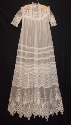 FINE ANTIQUE BABY CHRISTENING GOWN CATHEDRAL LENGTH LACE & EMBROIDERY