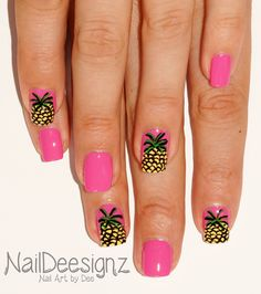 Pineapple Nail Art .x. http://naildeesignz.blogspot.co.uk/2015/07/pineapple-nail-art.html