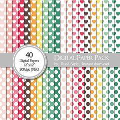 SALE 40 Digital Paper Pack Dot Design heart Design by rueastyle