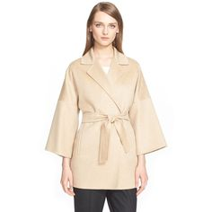 Max Mara 'Ravello' Cashmere Belted Wrap Coat (4,946,350 KRW) ❤ liked on Polyvore featuring outerwear, coats, camel, pink coat, maxmara coat, maxmara, belted coat and cashmere coat
