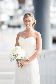 Strapless sweetheart sheath lace wedding dress by Maggie Sottero {Polina Kelly Photography}