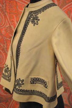 60s ivory wool felt zuoave jacket with soutache trim - side front