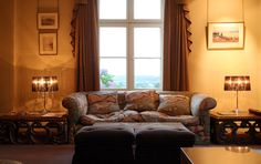 Maison Talbooth. Love the sofa fabric, Mulberry, flying ducks.