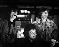 Keith Richards, Jimmy Miller and Mick Jagger during the Let It Bleed sessions. Photograph by Robert Altman.
