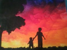 I like crayon art, but I decided to do mine a little differently. I have 2 little boys so that's why I went with this silhouette.