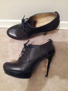 NINE WEST black leather platform oxford heeled bootie Oxford Platform, Oxford Heels, Dream Shoes, Aesthetic Fashion, Nine West Shoes, Shoe Boots, High Heels, Black Leather, Booty