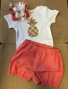 Pineapple Baby Toddler Summer Outfit coral and gold outfit $32