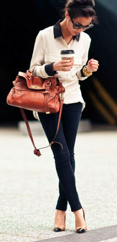 black & white with camel bag