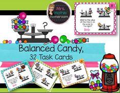 Les balances: bonbons en équilibre Task Cards, Introduction to Algebra) Multiplication And Division, Balance, My Teacher, Teacher Newsletter, Task Cards, Presents, Clip Art, Candy, Store