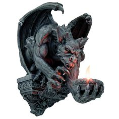 Gargoyle with Bat Wings Candleholder Sconce Wall Hanging 12 3/8H