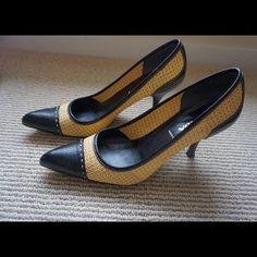 """Prada Black Leather and Tan Burlap Heel 3"""" pointed heel. Gently used. Prada Shoes Heels"""