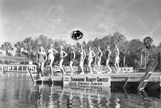 Models participating in the first annual Submarine Beauty Contest at Silver Springs (ca. Photo by Bruce Mozert. Beauty Contest, Central Florida, The One, Memories, Models, Explore, Beach, Silver, Vintage