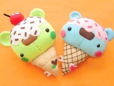 Bearcream coness by ~casscc uploaded by kawaii Kawaii Diy, Kawaii Crafts, Kawaii Cute, Cute Crafts, Felt Crafts, Fabric Crafts, Sewing Crafts, Sewing Projects, Kawaii Felt